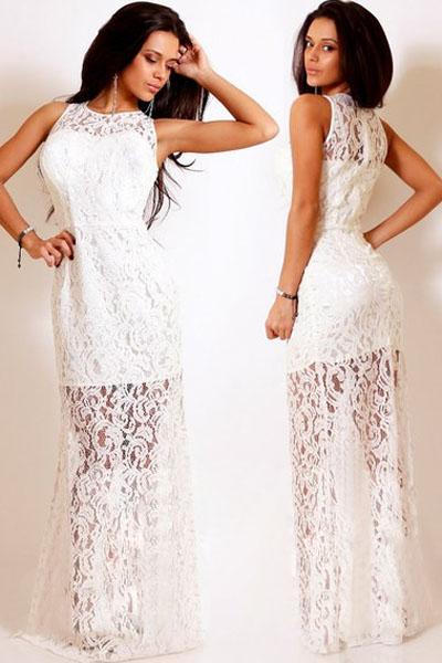 Ажурное белое платье в пол