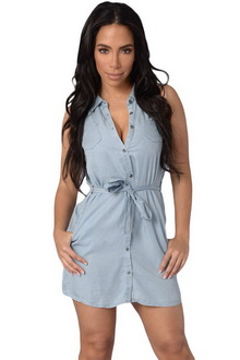 Фото Мини платье Sexy Denim Dress голубой dr22474