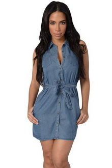 Купить Мини платье Sexy Denim Dress синий dr22624 фото, недорого
