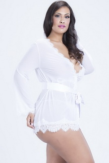 Фото Халат Plus Size Lingerie белый код: a22530-3P