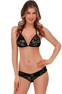 Фото Черный комплект Sexy Erotic Lingerie Set Черный код: br4239-2