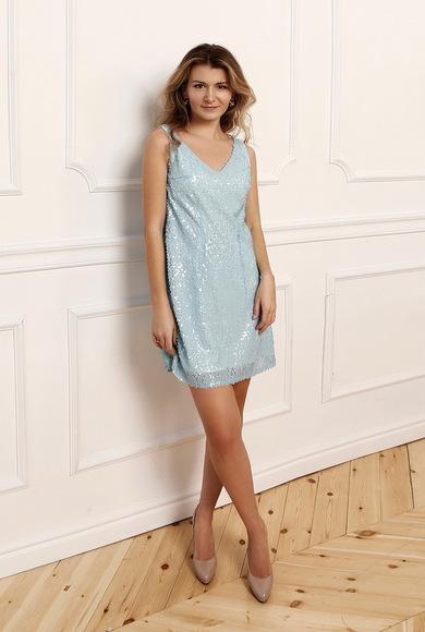 Платье небесного цвета в пайетку Mona Sequin Dress