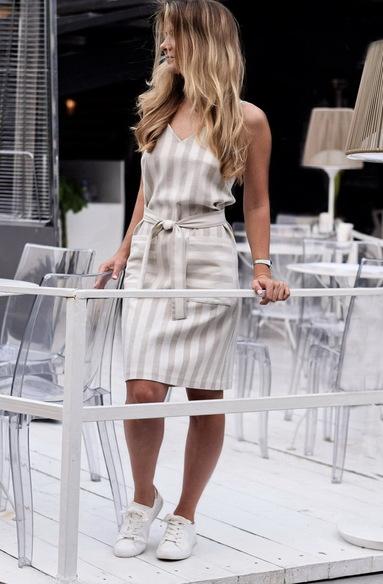 Платье - комбинация из льна полоска