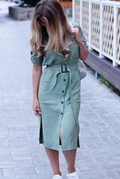 Льняное платье-рубашка с длинными рукавами цвета хаки