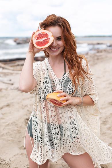 Пляжная накидка cover beach dress белый код : par42183-3
